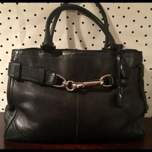 Vintage coach black leather handbag purse bag